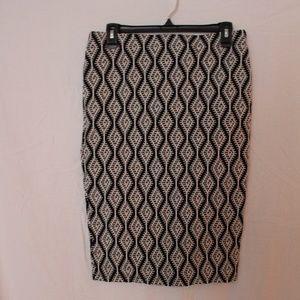 Zara skirt black and white pattern - stretch - L